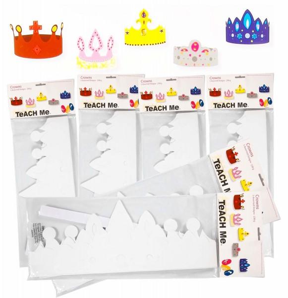 Kronen aus weißem Karton 230 g, inkl. Klettband für Größenanpassung