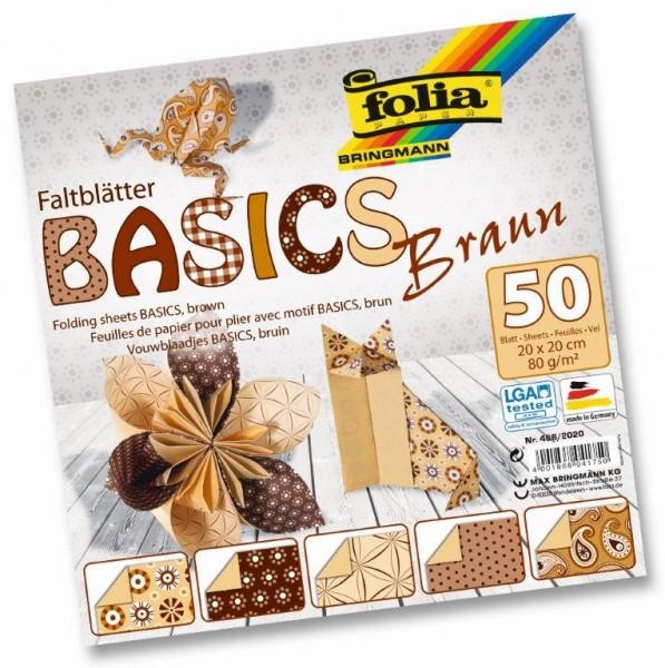 Faltblätter Basics mit unifarbenen Mustern in 5 Motiven sortiert, 50 Blatt