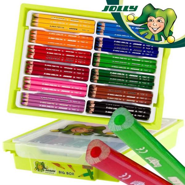 Jolly Supersticks X-BIG DELTA 3-kant Dickkernbuntstifte in der Kunststoffbox mit 180 Buntstifte