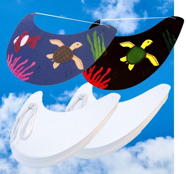 Sonnenschilder weiß, unbedruckt zum Selbstgestalten, inkl. Rundgummi, 25 Stück