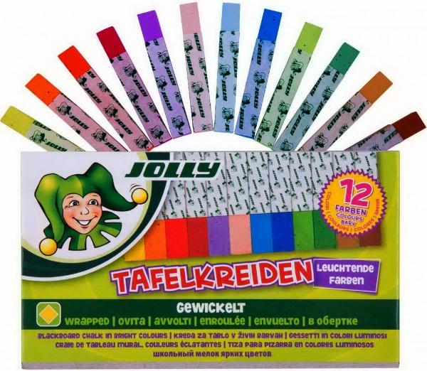 Jolly Schultafelkreide, gewickelt, 12 Stück in 12 Farben
