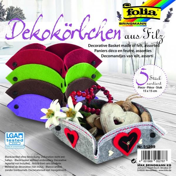 Filzkörbchen 5er SET in Grau, Violett, Braun, Hellgrün, Rot