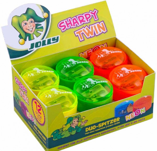 Jolly Duo-Dosenspitzer Sharpy Twin für 3-kant-Buntstifte dünn und dick, 12 Stück