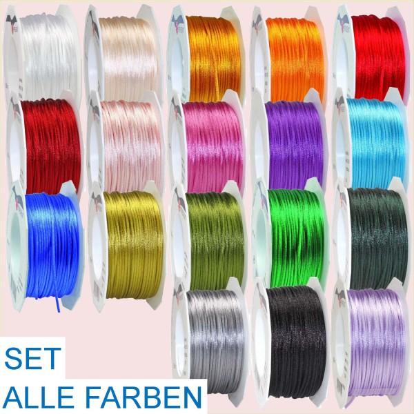 Satinkordel SET, Breite 3 mm, Länge 50 m, 18 Spulen in 18 Farben