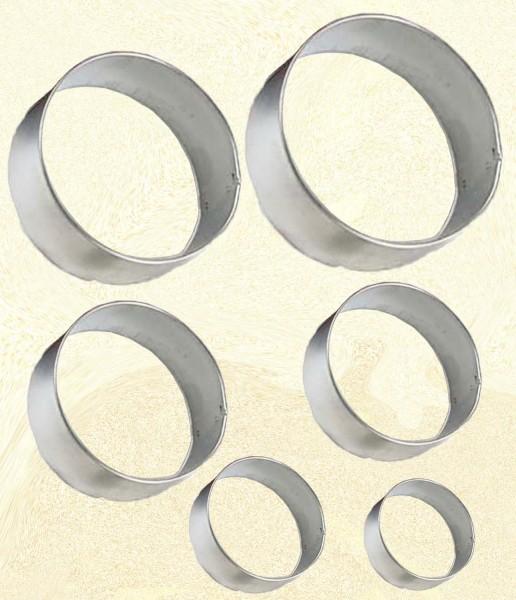 Ausstechformen rund, ca. 3 - 8 cm, 6 Stück