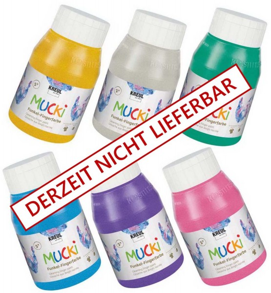 Mucki Funkel-Fingerfarbe SET im Metallic-Look von Kreul, 6 x 500 ml in 6 Farben