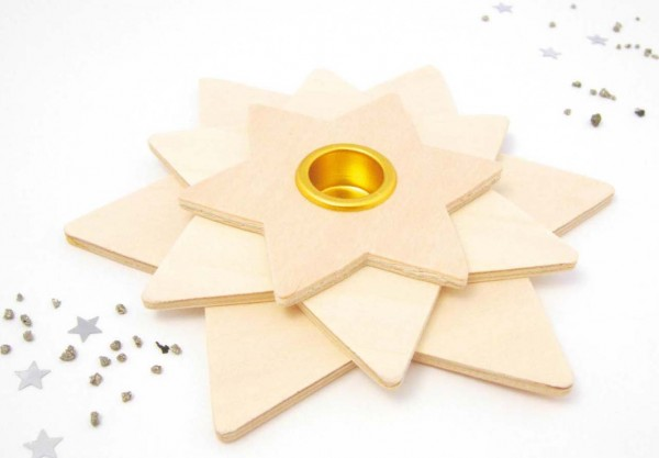Kerzenhalter 3 Sterne übereinander versetzt, 12,5 cm, Preis pro Stück