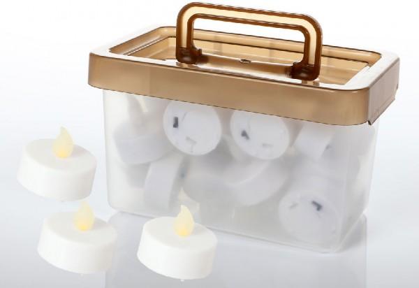LED-Teelicht weiß inkl. Batterie, 24 Stück
