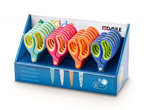 Kinderschere 13 cm rund mit Softgriff in 4 Farben, 18 x Rechtshand und 6 x Linkshand
