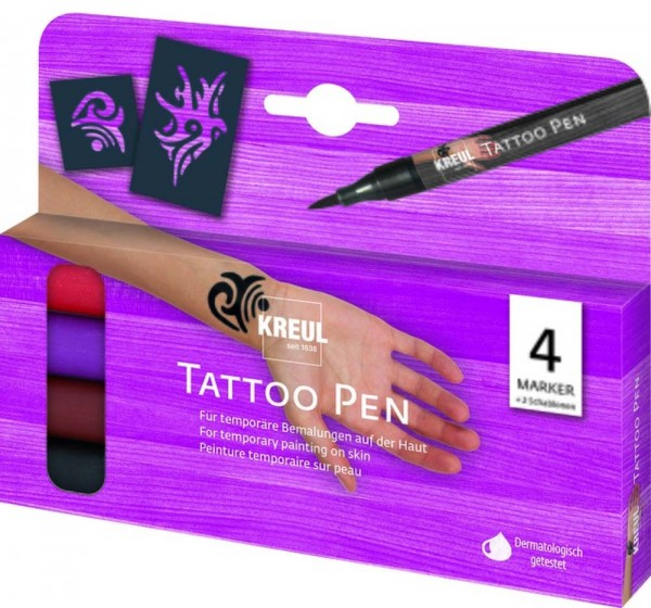 Tattoo Pen 4er SET Tribals, 4 Stifte und 2 Schablonen