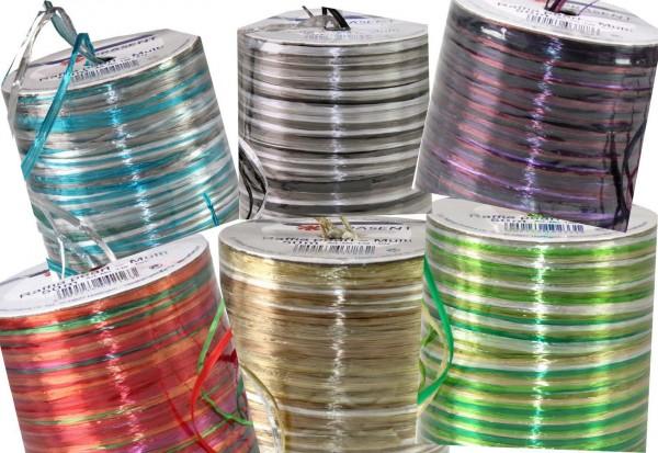 Raffia-Pearl-Multicolor SET, 50 m Spule, alle 10 Kombinationen