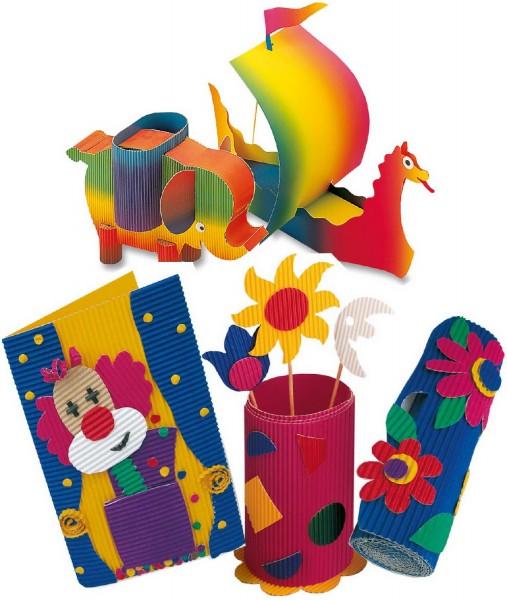 Bastelwellpappe SET von Folia, 10 Bögen in 10 Farben sortiert, je 50 x 70 cm
