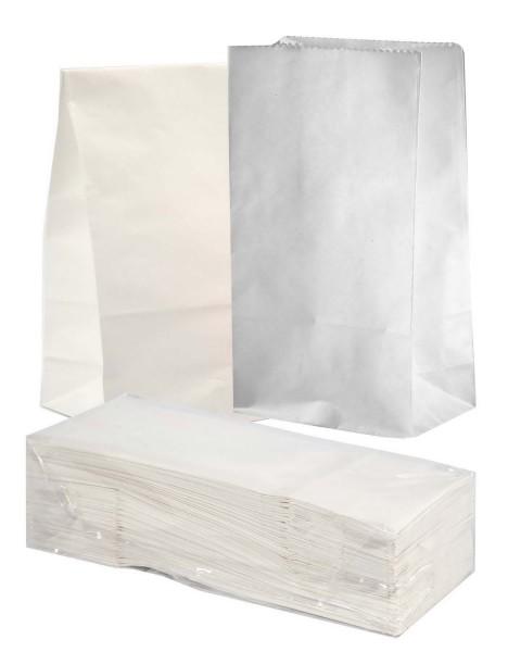 Papiersackerl mit verstärktem Boden, 46 g, 15 x 9 x 27 cm, 100 Stück in Weiß