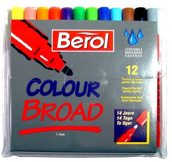 Berol Filzstifte Colour Broad - Etui 12 Farben