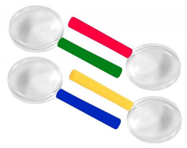 Bunte Lupen, 8er-Set, 5-fache Vergrößerung, farbig sortiert