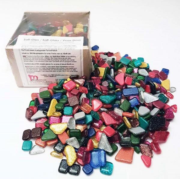 Mosaiksteine Soft Glas Glitter Mix polygonal