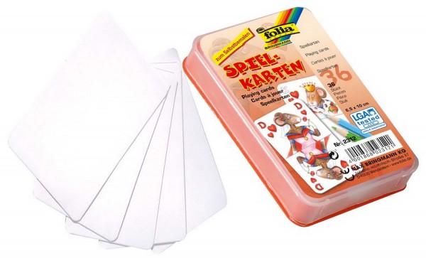 Spielkarten zum Selbstgestalten in farbiger Box, Format 6,5 x 10 cm, 36 Karten blanko weiß