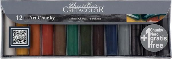Mega-Farbkohle Art Chunky-Set, Durchmesser 18 mm, 12 Stück in 12 Farben