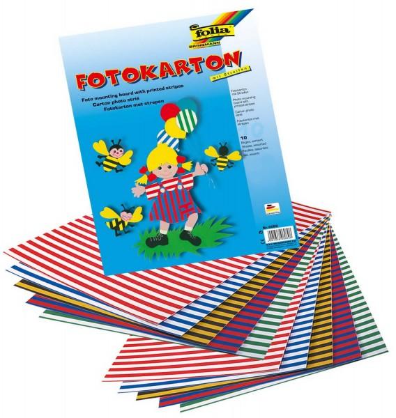 Fotokarton mit Streifen, 300 g, zweiseitig bedruckt, Format 50 x 70 cm, 10 Bogen sortiert