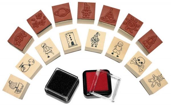 Ministempel Jungs, 15 Stempel und 2 Stempelkissen