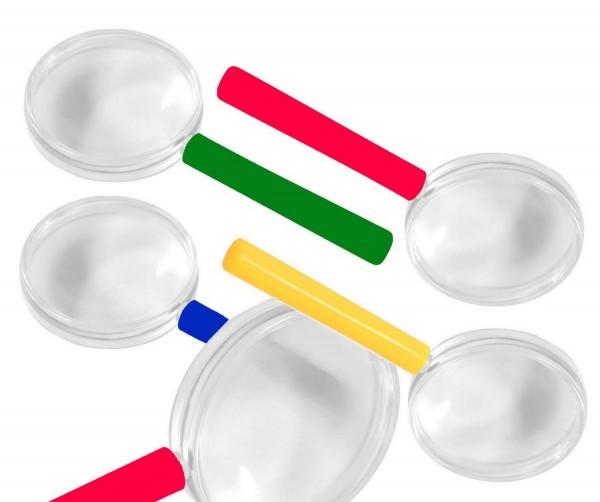 Bunte Lupen, 8er-Set, 5-fache Vergrößerung, farbig sortiert, 9,8 x 4,2 cm