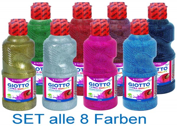 Glitter Paint Transparentfarbe SET von Giotto alle 8 Farben, je 250 ml