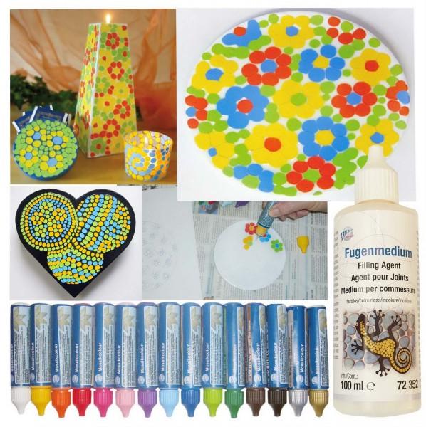 Mosaikcolour SET mit allen 15 Farben und 4 Fugenmedium