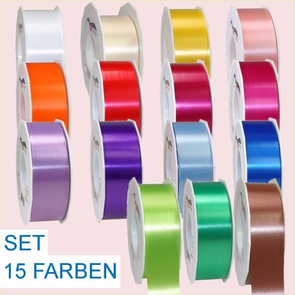 Ringelband SET, 40 mm x 91 m, alle 15 Farben je 1 Spule (ohne Gold und Silber)