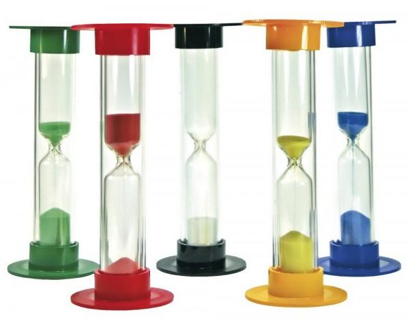 Sanduhren-Set Groß, Höhe 15 cm, 5 Stück: je 1 mal für 30 Sekunden, 1, 3, 5 und 10 Minuten