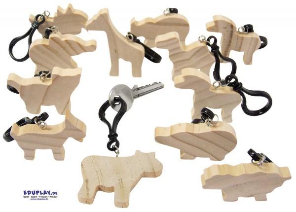 Holz-Schlüsselanhänger Tiere, 5 x 9,5 x 0,8 cm, 12 Stück sortiert