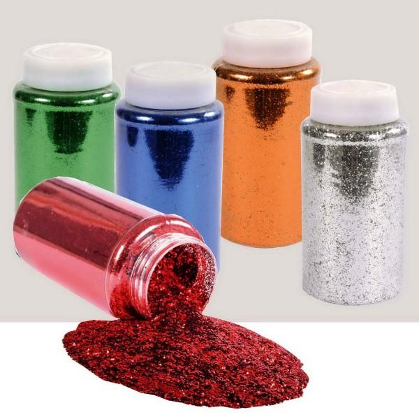 Glitter zum Streuen SET, 5 Farben zu je 500 ml