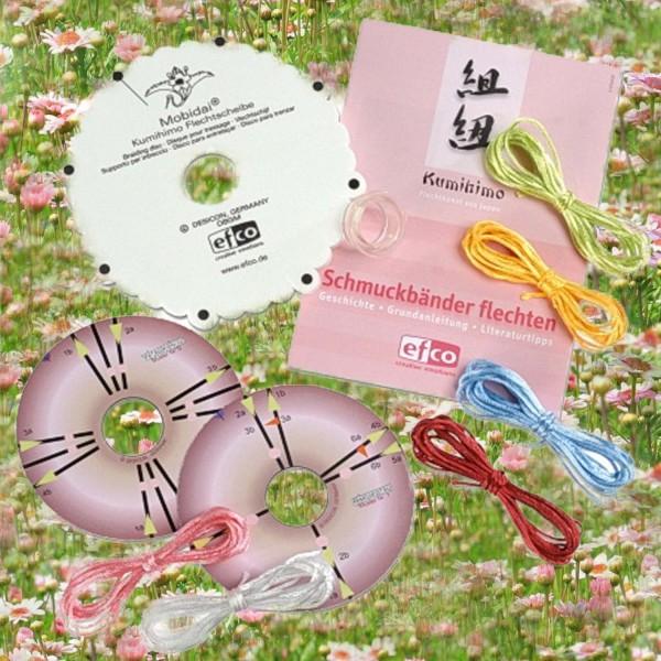 Kumihimo Flechtscheibe, Schablonen und Bänder